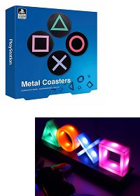 Offizielles Playstation Icons LED Licht + PlayStation Buttons Metall Untersetzer 4er-Set (Merchandise)