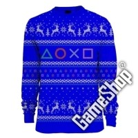 PlayStation Symbols Xmas Pullover Blue (XL) (Merchandise)